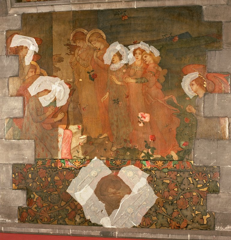Interior. North chapel, mural on north wall.
