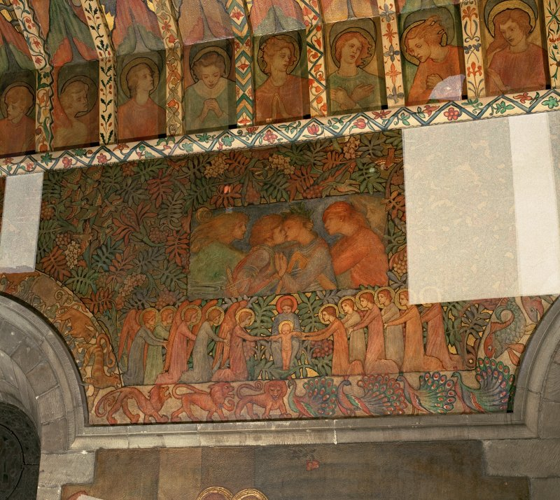 Interior. North chapel, detail of mural on north wall depicting embracing figures and below angels and saints on their knees beside the Christ child standing in his mother's lap.
