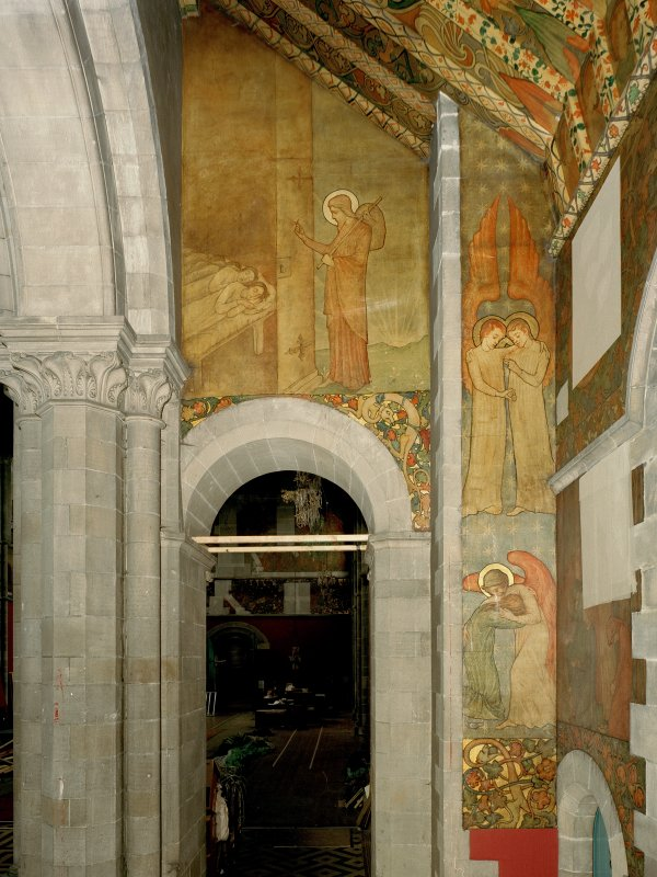Interior. North chapel, mural on west wall depicting scenes from the parable of the Ten Virgins.
