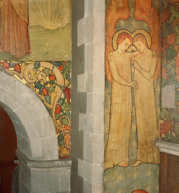Interior. North chapel, detail of mural on west wall depicting scenes derived from the parable of the Ten Virgins.