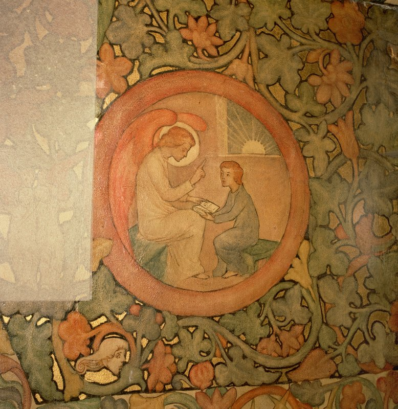 Interior. North chapel, detail of mural on north wall depicting a child being taught to read by an angel.