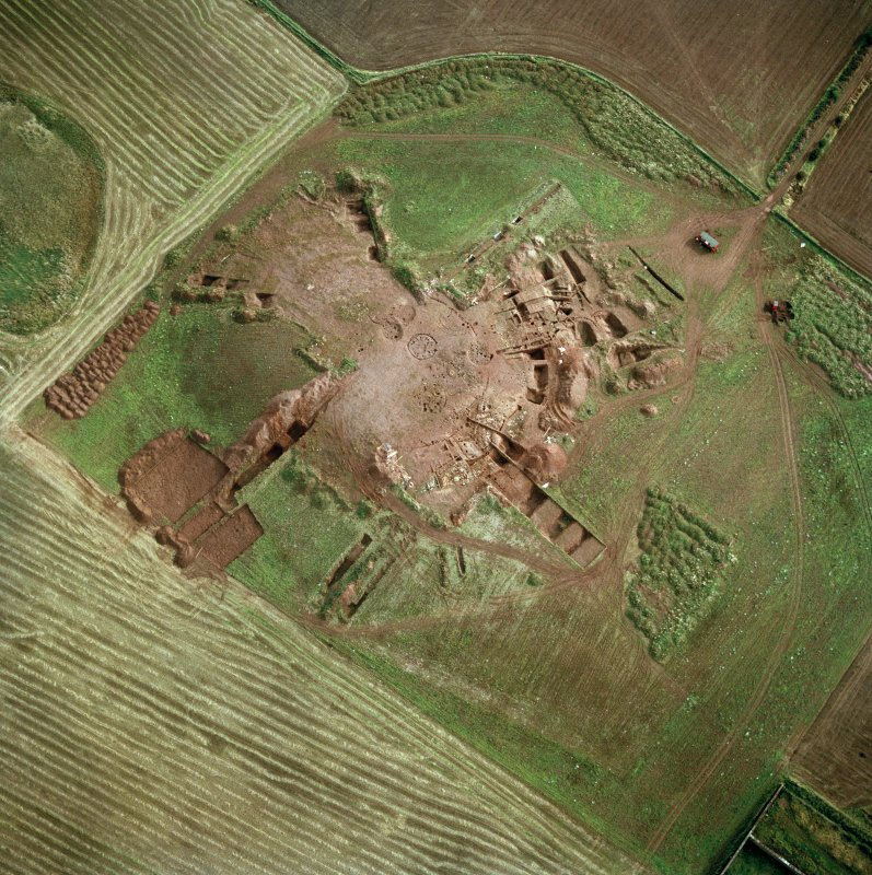 Broxmouth, oblique aerial view, showing the excavation.