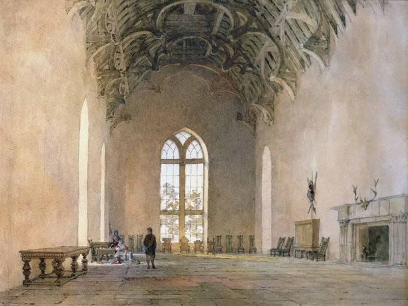 Darnaway Castle. Photographic copy of painting of the Great Hall 1809 (colour).