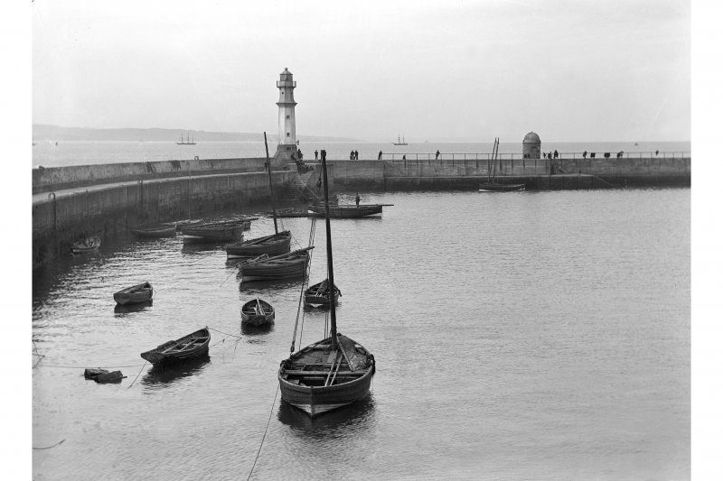 View showing old and new lighthouses (West and East), Newhaven Harbour, Edinburgh.