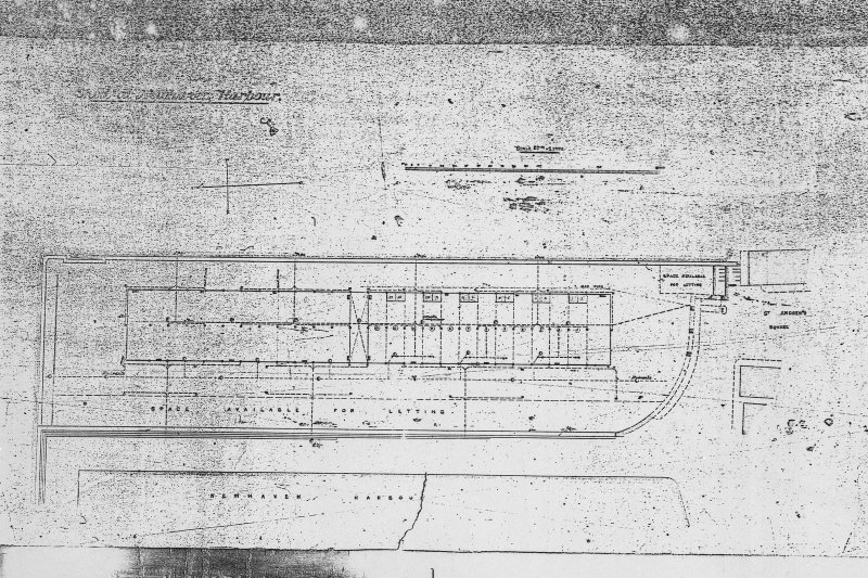 Photographic copy of contract drawing of plan for a new building. Titled: ' [ ] Harbour' 'Newhaven Harbour'.