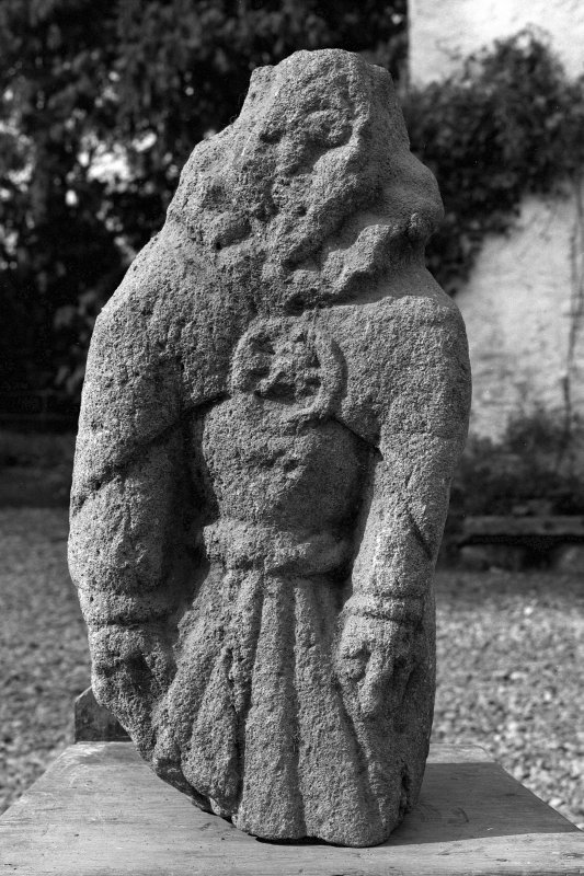 Kerrera, Gylen Castle, statuette. Detail of carved fragment now at Dunollie House.