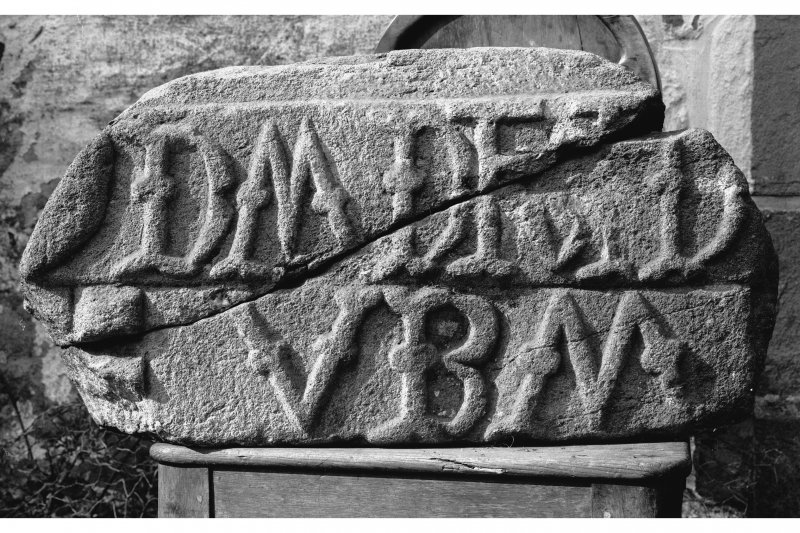 Kerrera, Gylen Castle, inscribed panel. Detail of carved fragment now at Dunollie House.