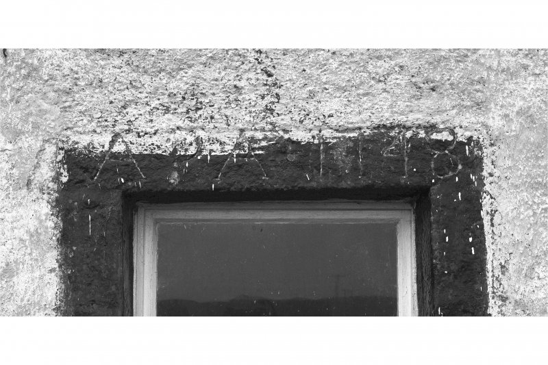 Tiree, Island House. Detail of inscribed lintel, dated 1748.