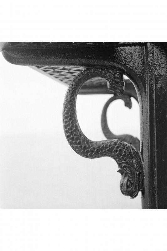 Detail of dolphin-shaped handgrips and brackets on lantern, Skerryvore Lighthouse, Tiree.
