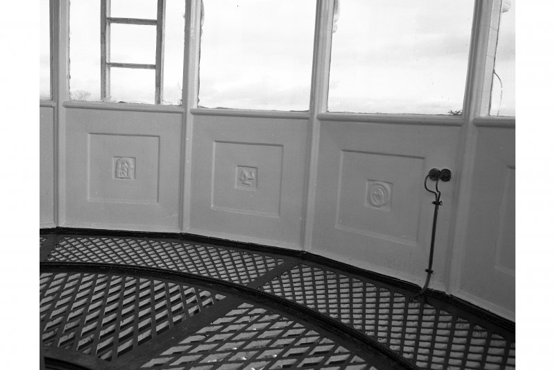 Lismore, Eilean Musdile, Lighthouse. View of lantern interior showing decorative cast iron panel work.