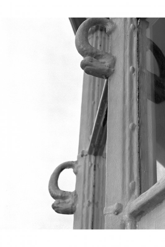 Lismore, Eilean Musdile, Lighthouse. Detail of lantern showing dolphin handgrips.
