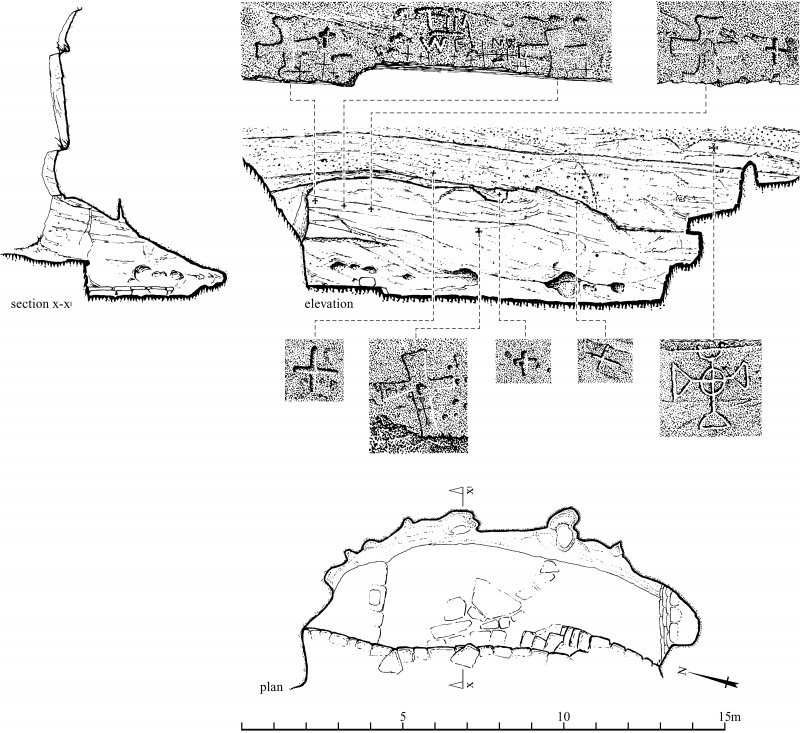 Scanned image of drawings showing section x-x1, elevation, plan and details of inscriptions in St Molaise's Cave, Holy Island, Arran Page 61 of 'Gazetteer of Early Medieval Sculpture in the West Higlands and Islands'