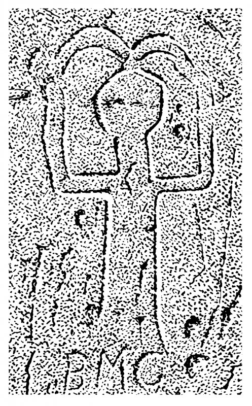 Scanned image of drawing showing carving on central buttress of King's Cave, Blackwaterfoot, Arran Page 68, figure B of 'Gazetteer of Early Medieval Sculpture in the West Highlands and Islands'