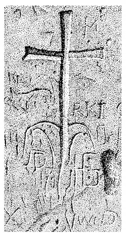 Scanned image of drawing showing carving on central buttress of King's Cave, Blackwaterfoot, Arran Page 68, figure D of 'Gazetteer of Early Medieval Sculpture in the West Highlands and Islands'