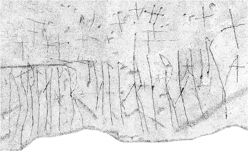 Scanned image of drawing showing detail of runic inscription VIII in St Molaise's Cave, Holy Island, Arran Page 64, figure A of 'Gazetteer of Early Medieval Sculpture in the West Higlands and Islands'