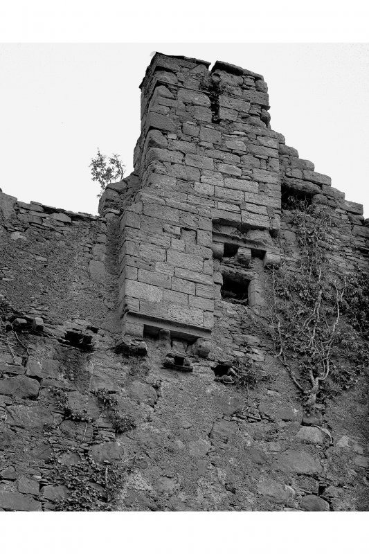 Mull, Moy Castle. Detail of North-West wall chimney stacks.