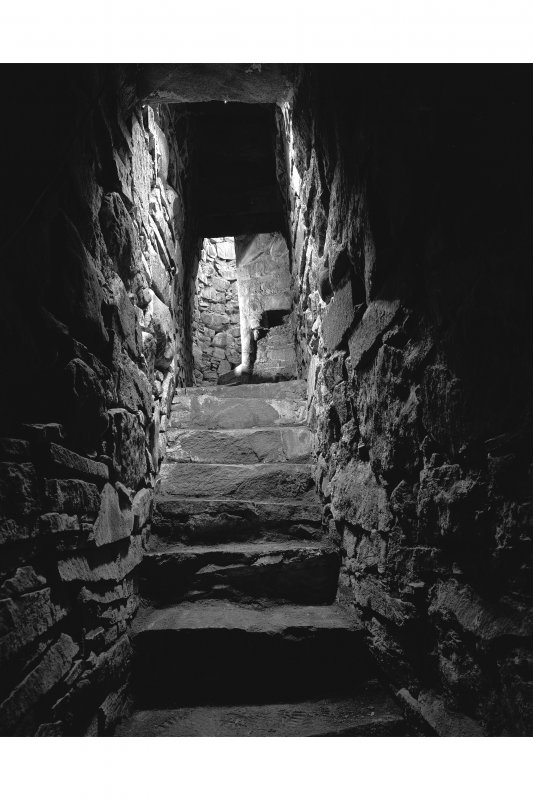Interior view of stair and first floor landing at Moy Castle, Mull