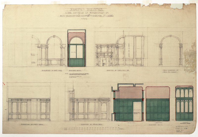 "Details of finishings in East proprietors' room. Titled: 'Scotsman Buildings'.   '1/2"" Scale Details Of Finishings In East Proprietors' Rooms Etc.   North Bridge Street Level'. Scanned image of D 7325 ..."