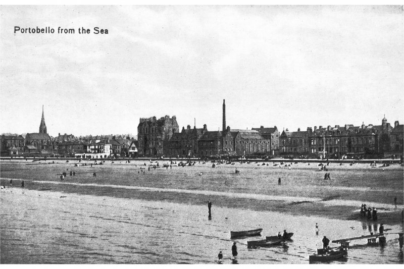 Portobello View from the sea (postcard). Insc: 'Portobello from the sea', '76044, J.V.'. NMRS Survey of Private Collections.