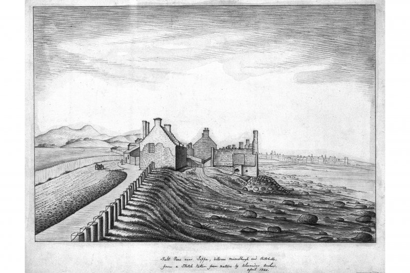 Edinburgh, Portobello, Joppa Salt Pans. Photographic copy of sketch of Salt Pans. Titled: 'Salt Pans near Joppa, between Musselburgh and Portobello from Sketch taken from Nature by Alexander Archer. April 1840'.