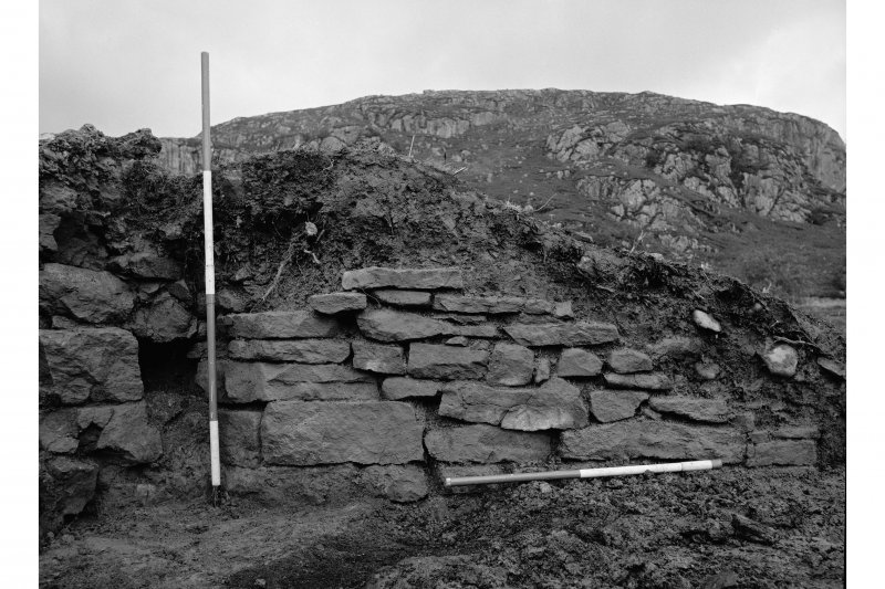 Red Smiddy Ironworks Excavation photograph; view of right wing wall of tap arch