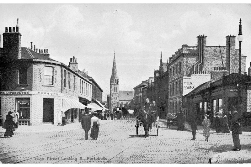 Edinburgh, Portobello, High Street. Photographic copy of postcard of general view of High Street. Insc: 'High Street Looking E., Portobello' 'Reliable Series, R2290'.