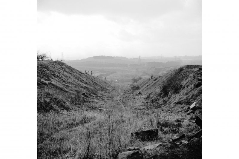 Glasgow, Monkland Canal, Blackhill Locks and Incline View looking SW showing cutting for inclined plane