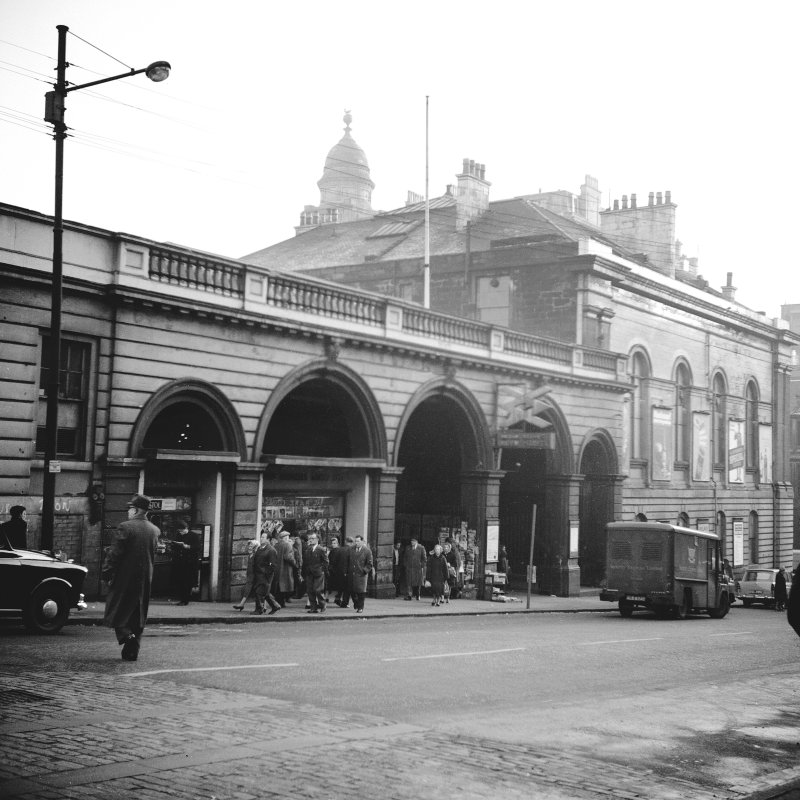 Glasgow, West George Street, Queen Street Station View from N showing WNW front of Dundas Street entrance