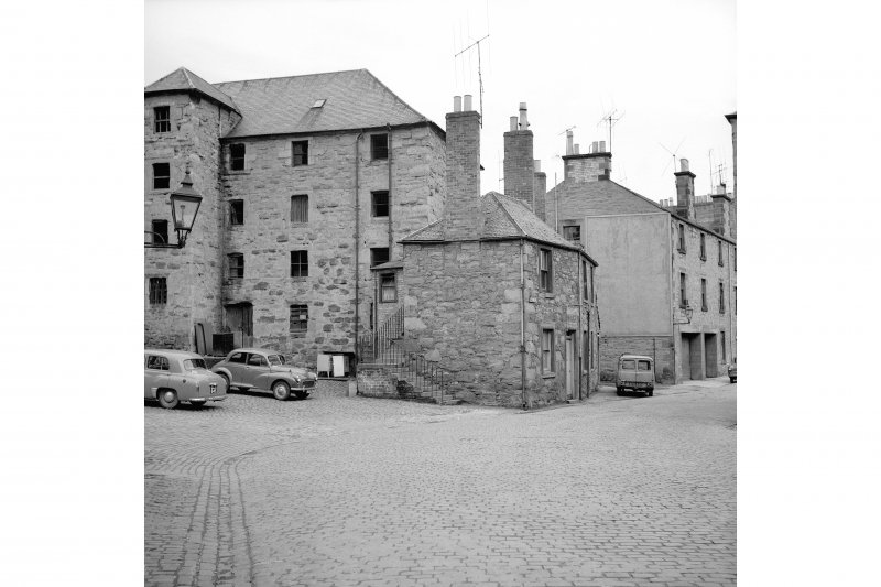 Perth, West Mill Street, City Mills and Granary View from SSW showing SW front and part of SSE front of numbers 60-59 with granary in background
