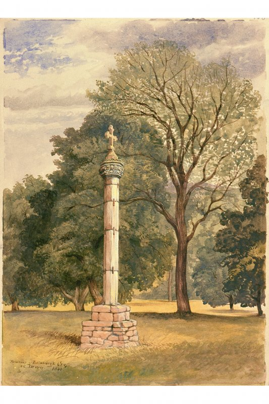 Photographic copy of watercolour inscribed; 'Remains of Edinburgh Cross at Drum' This is a watercolour of the cross whilst it was in place at The Drum, and which is now situated in the High Street in Edinburgh