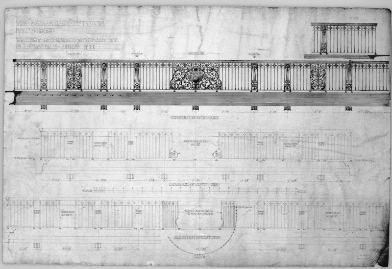 Edinburgh, 20-36 North Bridge, The Scotsman Buildings.  Photographic copy of elevations of wrought iron railings. Titled: 'The Scotsman Building   Edinburgh'.   'Wrought Iron Railing Round Gallery Of  ...