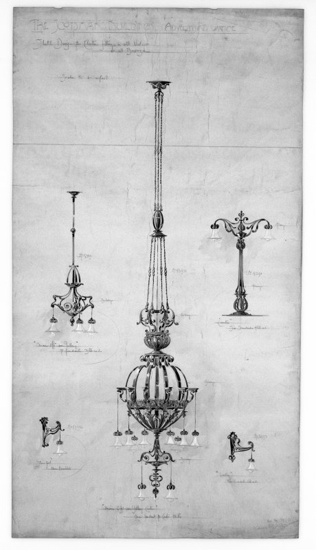 Edinburgh, 20-36 North Bridge, The Scotsman Buildings.  Photographic copy of proposed light fittings in the advertising office. Titled: 'The Scotsman Buildings   Advertising Office'. Insc: 'Sketch Des ...
