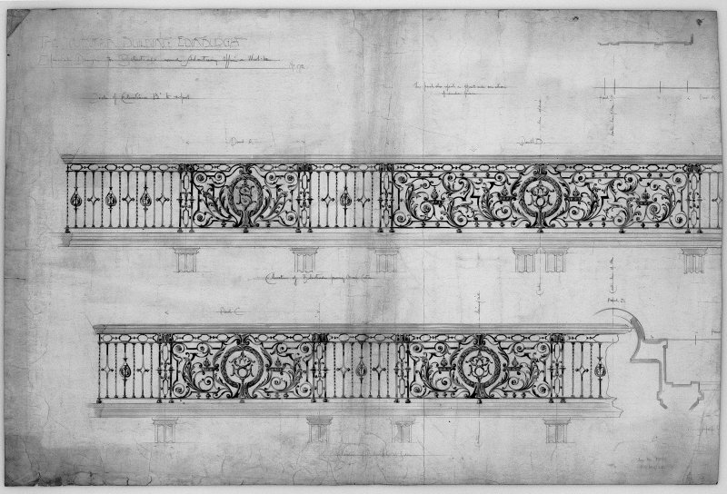 Edinburgh, 20-36 North Bridge, The Scotsman Buildings.  Photographic copy of details of wrought iron work. Titled: 'The Scotsman Building Edinburgh'. Insc: 'Special Design to Balustrade round Advertis ...