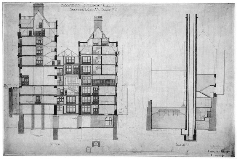 Edinburgh, 20-36 North Bridge, The Scotsman Buildings.  Photographic copy of sectional elevations. Titled: 'Scotsman Buildings   Block A'.   'Sections CC And AA'.  Insc: 'Drawing No.5'.   '35 Frederic ...