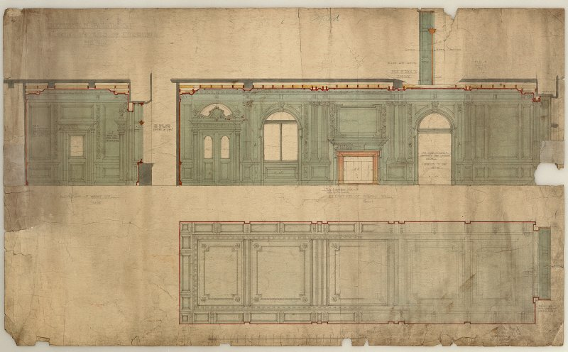 "Edinburgh, 20-36 North Bridge, The Scotsman Buildings.  Details of ceiling and walls in corridors. Titled: 'Scotsman Buildings'.   '1/2"" Scale Details Of Corridors'. Insc: 'No.368'.   '35 Frederick St ..."