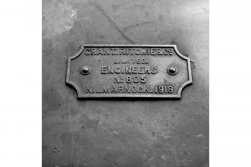 Cardowan Colliery View showing makers plate (inscribed: GRANT. RITCHIE & CO. LIMITED. ENGINEERS NO.805 KILMARNOCK. 1918) of Grant Ritchie 040ST 805, 1918