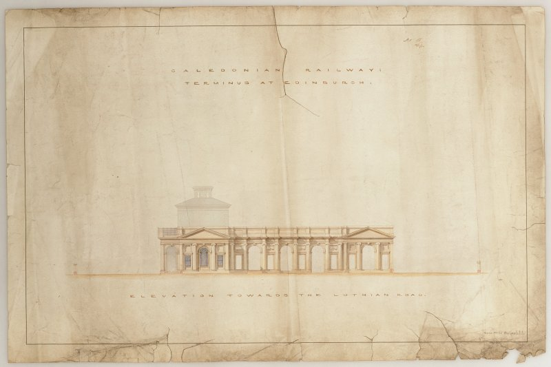 Caledonian Railway Terminus at Edinburgh, plan of elevation towards the Lothian Road before conservation treatment.