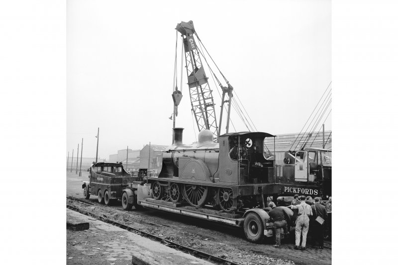 Glasgow, Govan Goods Yard View from ENE showing locomotive number 123 on trailer