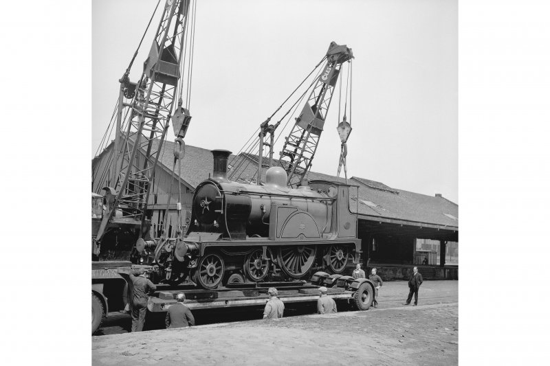 Glasgow, Govan Goods Yard View from SE showing locomotive number 123 on trailer with loading shed in background