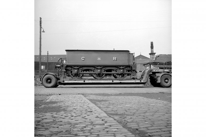 Glasgow, Govan Goods Yard View showing locomotive number 123 tender on trailer with building in background
