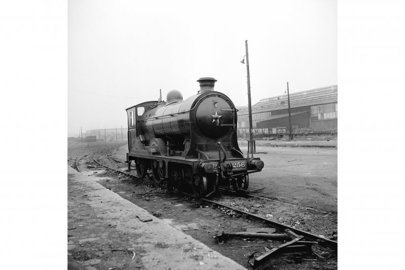 Glasgow, Govan Goods Yard View from NE showing locomotive number 256 with Glasgow Railway Engineering Works in background