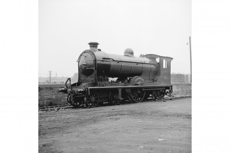 Glasgow, Govan Goods Yard View from NW showing locomotive number 256 with wall in background