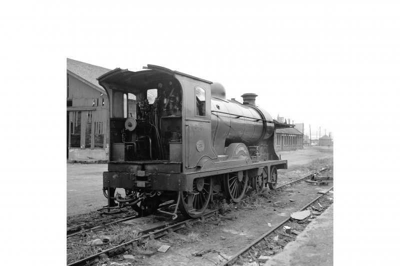 Glasgow, Govan Goods Yard View from S showing locomotive number 256 with loading shed in background