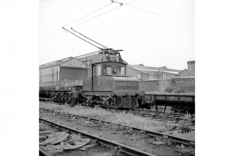 Glasgow, Govan Goods Yard View from NE showing Fairfield locomotive with Glasgow Railway Engineering Works in background