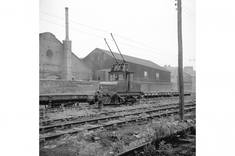 Glasgow, Govan Goods Yard View from S showing Fairfield locomotive with Clydeside Ventilating Works in background