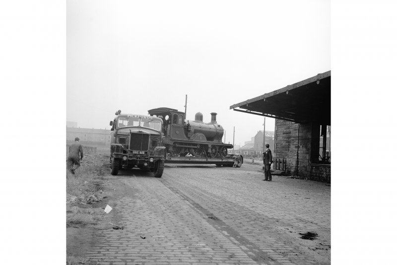 Glasgow, Govan Goods Yard View from NE showing locomotive number 49 on trailer with part of loading shed on right