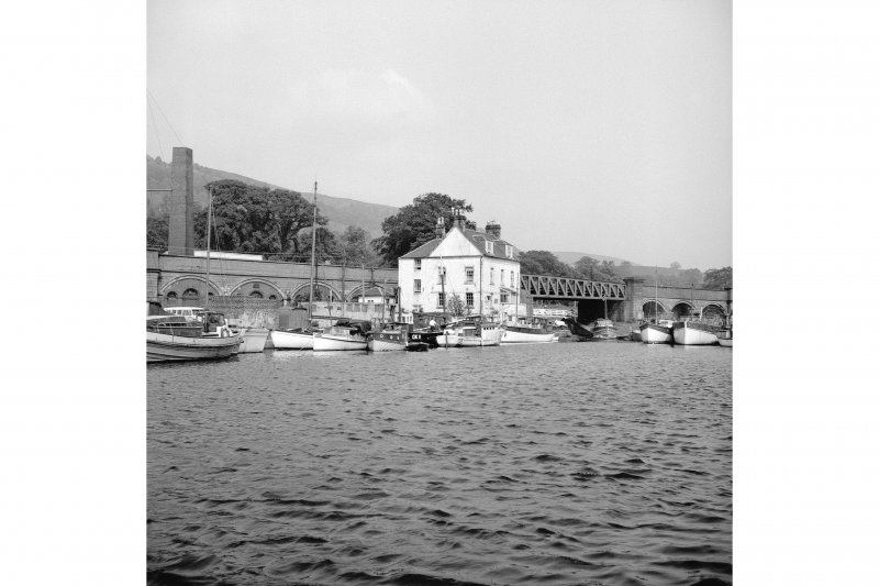 Forth and Clyde Canal, Bowling Basin, Canal House Basin View from WSW showing Canal House Basin with chimney, swing bridge and Customs House in background