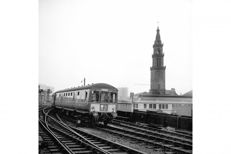 Glasgow, St. Enoch Station View from N showing diesel multiple unit with steeple in background