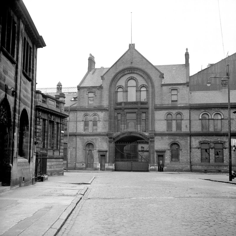 View of Hyde Park Locomotives Work, Flemington Street, Glasgow, from W showing main entrance on Ayr Street of Hyde Park Locomotive Works with Springburn District Library and the Vulcan Hall on left.