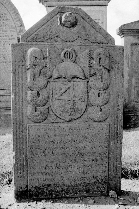Coupar Angus Abbey Churchyard. East face of gravestone commemorating Anne Young, d.1737.